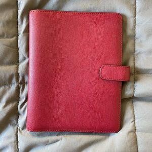 Magenta Saffiano Leather Coach Planner Cover